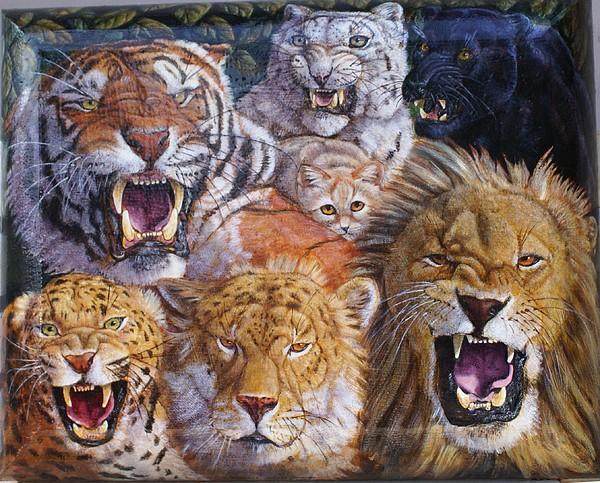 Big Cats Painting - Big Cat Rescue by D Katherine Ramirez de Arellano