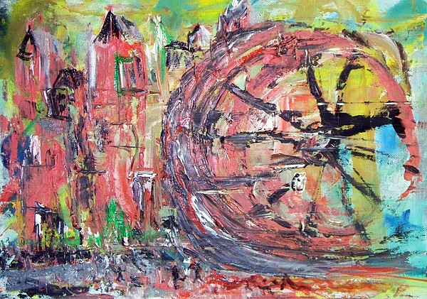 Abstract Cityscape Painting - Big City Wheel Vs Little People by Lynda McDonald