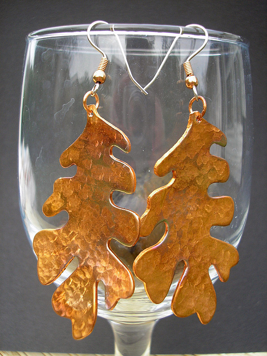 Copper Jewelry - Big Leaves by Angie DElia