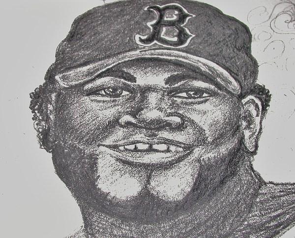 David Ortiz Drawing - Big Papi Sketch by Emily Michaud