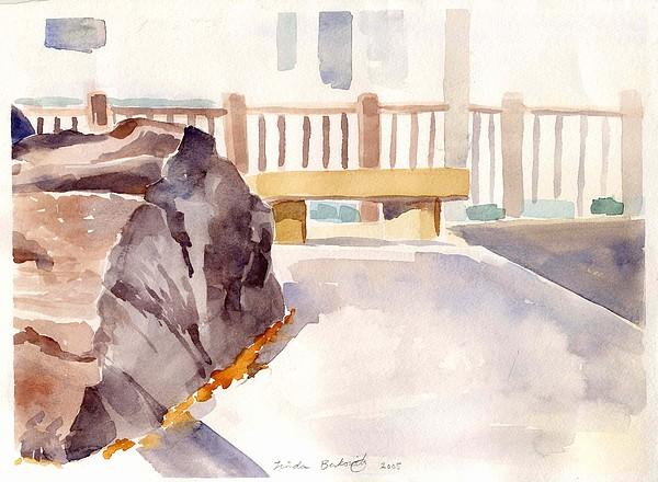 Nature Painting - Big Rock 1 by Linda Berkowitz