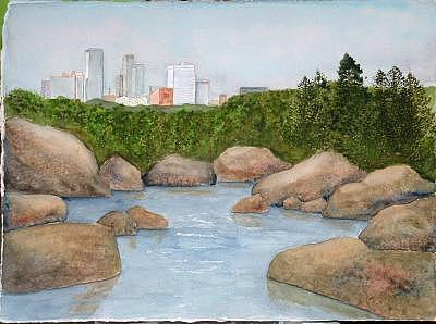 Rocks Painting - Big Rock Little Rock by Diane Ziemski