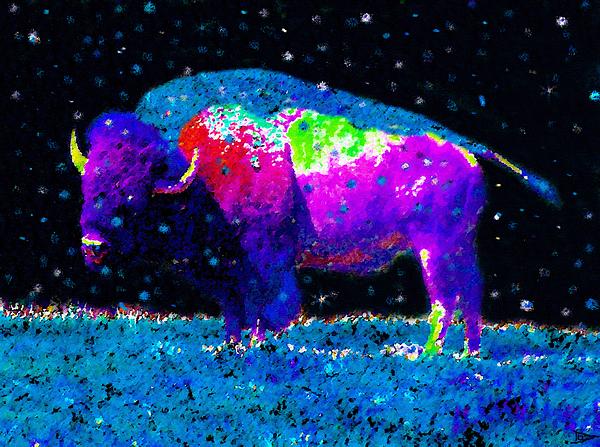 Artwork Painting - Big Snow Buffalo by David Lee Thompson