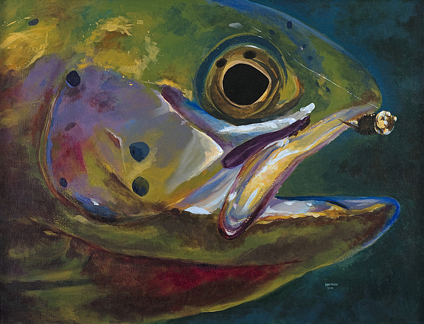 Trout Painting - Big Trout by Les Herman