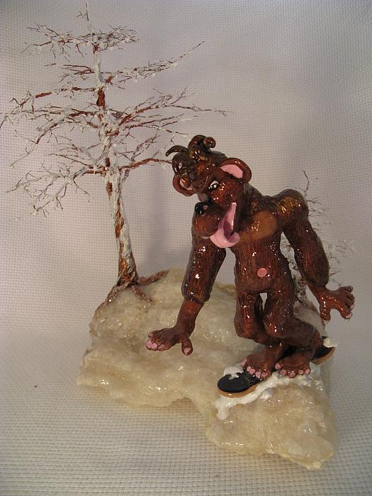 Metal Tree Sculpture - Bigfoot On Crystal by Judy Byington
