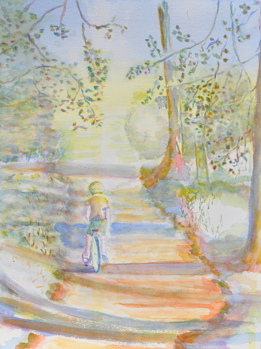 Biking In The Woods Painting by MaryBeth Minton