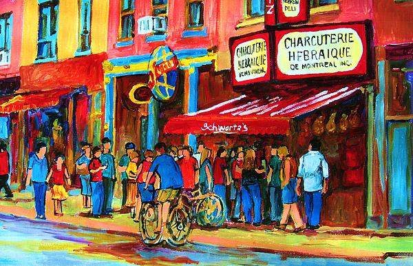 Schwartzs Smoked Meat Deli Painting - Biking Past The Deli by Carole Spandau