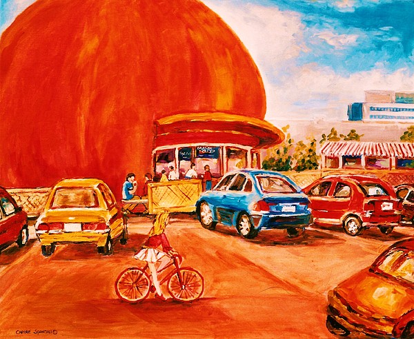 Cityscenes Painting - Biking Past The Orange Julep by Carole Spandau