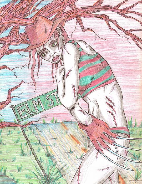 Bikini Drawing - Bikini Freddy by Michael Toth