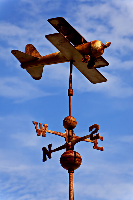 Rusty Photograph - Biplane Weather Vane by Garry Gay
