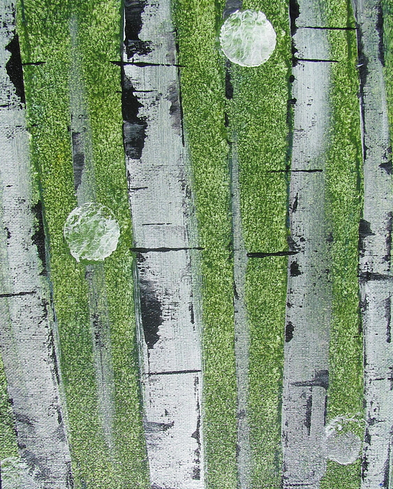 Abstract Painting - Birch - Green 1 by Jacqueline Athmann