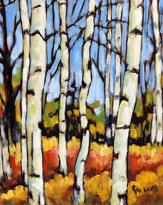 Painting Painting - Birch Study By Prankearts by Richard T Pranke