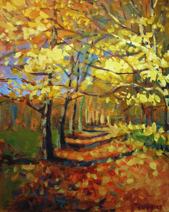 Fall Painting - Birch2 by Brian Simons