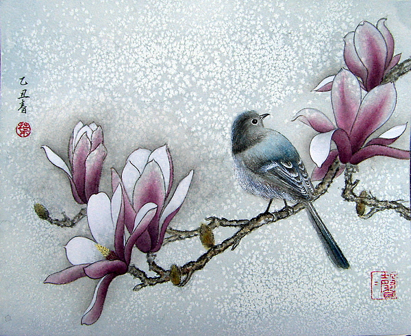 Bird Painting - Bird And  Magnolia  by Leaf Moore