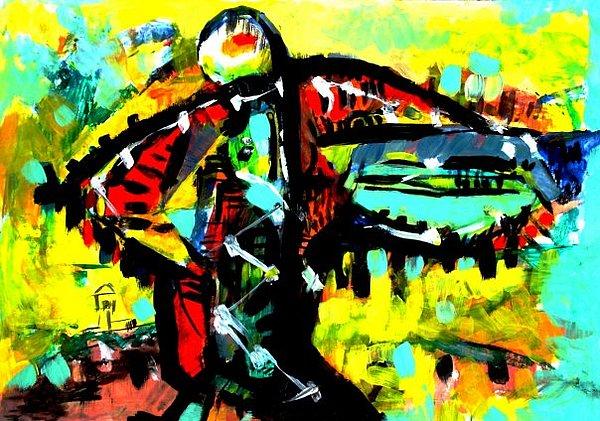 Bird Man 1994 Painting by Miron Topciu