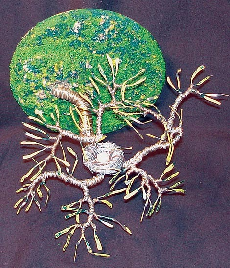Bird Nest No. 5 - Wire Sculpture Sculpture by Sal Villano
