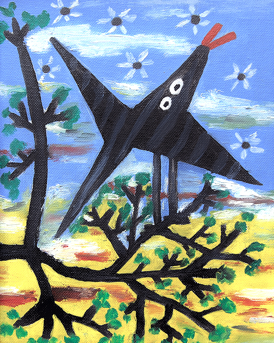 Abstract Painting - Bird On A Tree After Picasso by Alexandra Jordankova