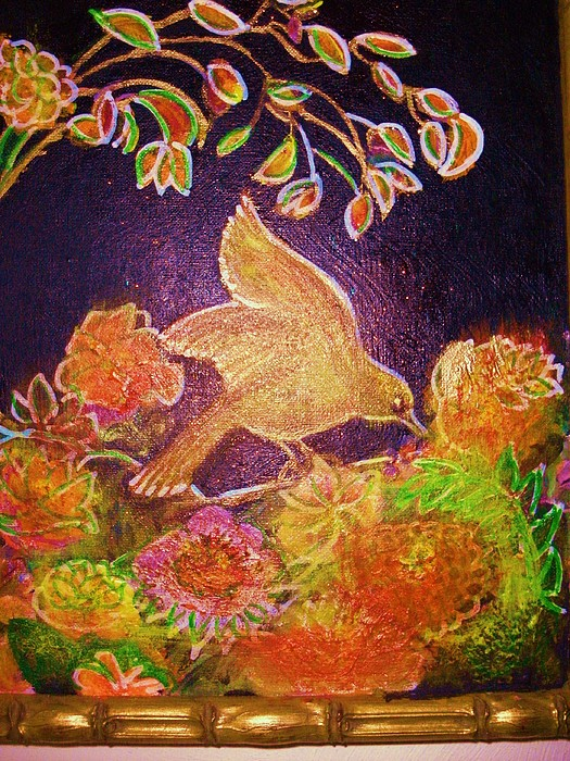 Bird Mixed Media - Bird On Flowers On A  Glorious Night by Anne-Elizabeth Whiteway