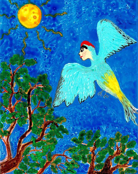 Sue Burgess Painting - Bird People Green Woodpecker by Sushila Burgess