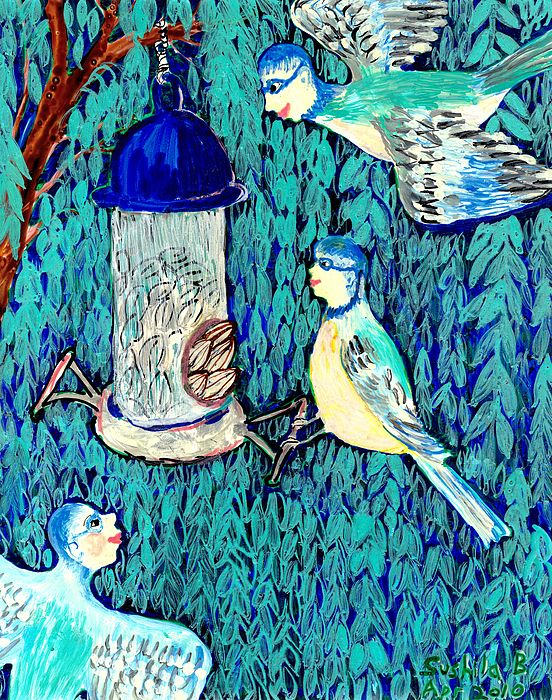 Sue Burgess Painting - Bird People The Bluetit Family by Sushila Burgess