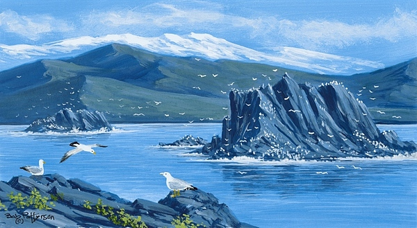 Seascape Painting - Bird Rock Puget Sound by Bob Patterson