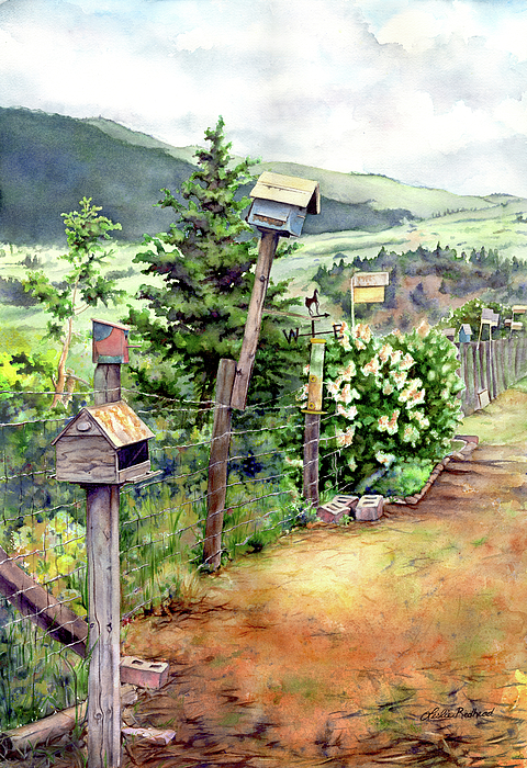 Landscape Painting - Birdhouse Alley by Leslie Redhead