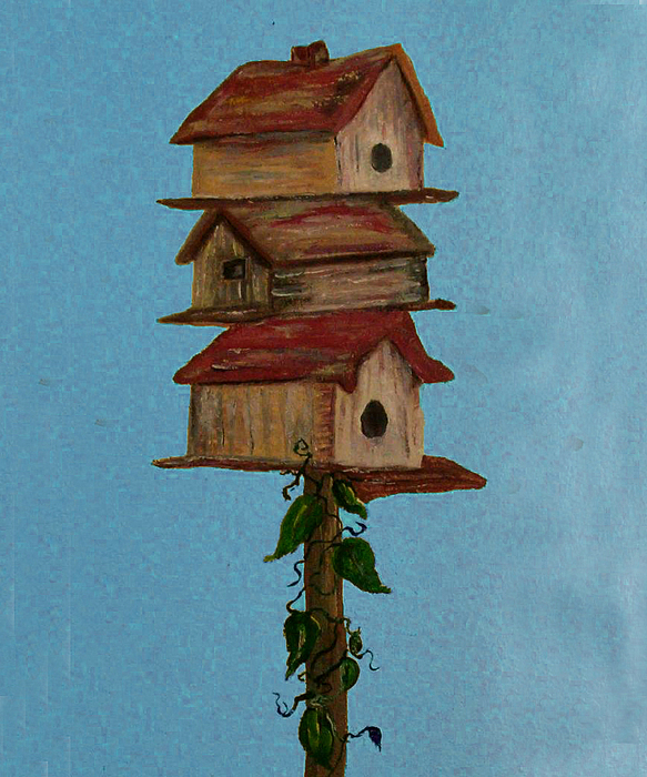 Mural Painting - Birdhouse Motel by Mikki Alhart
