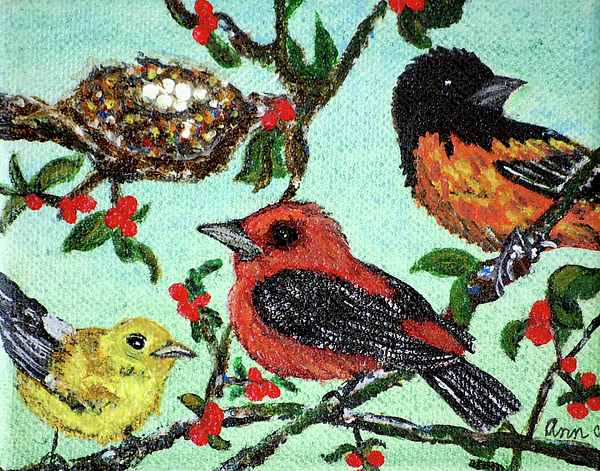 Birds Painting - Birds By The Nest by Ann Ingham