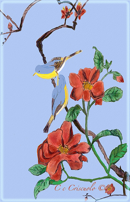 Flowers Mixed Media - Birds On A Branch by Catherine