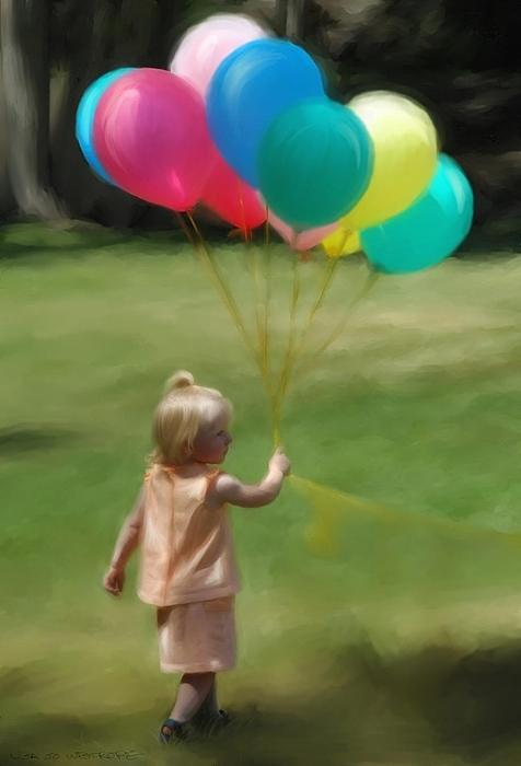 Birthday Digital Art - Birthday Balloons by Lisa  Westrope