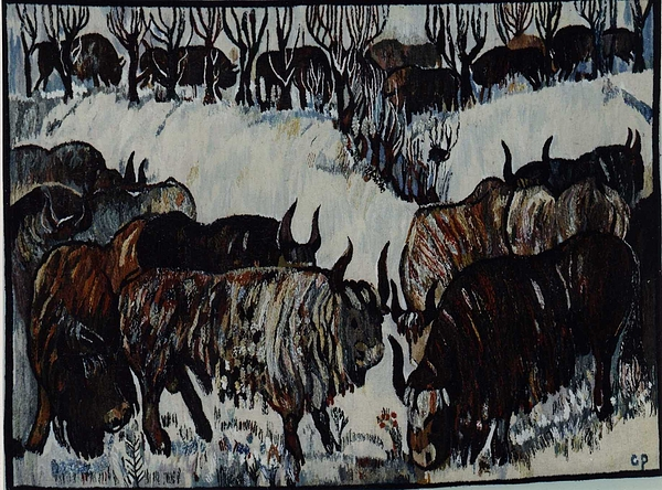 Bison Tapestry - Textile - Bison In Winter by Piotr Grabowski