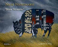 Framed Painting - Bison Memories by Michael Meissner