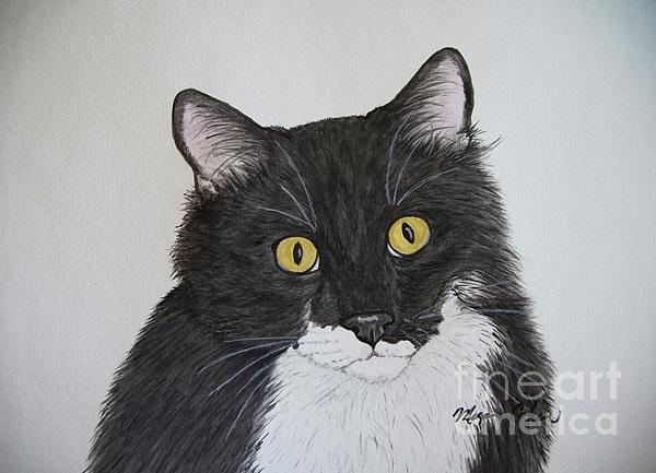 Cat Painting - Black And White Cat by Megan Cohen