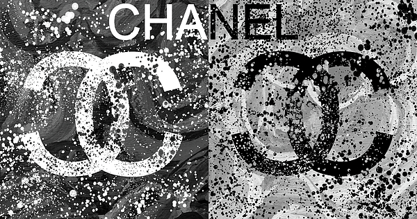 Chanel Logo Mixed Media - Black And White Chanel Art by Dan Sproul