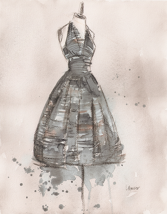Black And White Painting - Black And White Striped Dress by Lauren Maurer