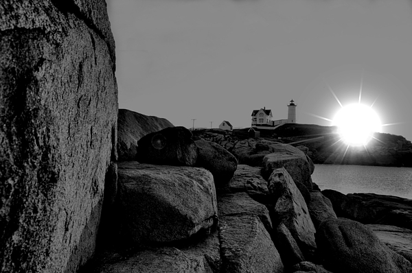 Nubble Lighthouse Photograph - Black And White Sunrise by Emily Stauring