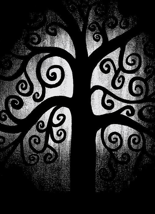 Black And White Painting - Black And White Tree by Angelina Vick
