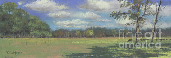 Country Landscape Painting - Black Angus Strolling Through The Pasture by Terri  Meyer