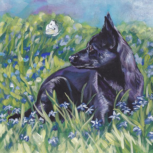 Black Painting - Black Australian Kelpie by Lee Ann Shepard