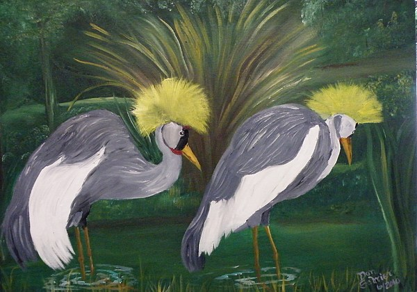 Animals Painting - Black Crown Crane by Donald Schrier