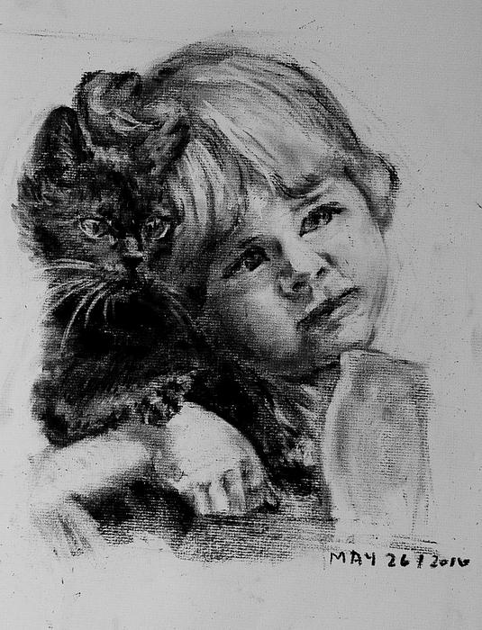 Black Kitty Kat Drawing by Kathi Halickman