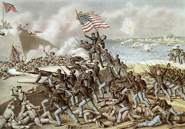South Carolina Painting - Black Troops Of The Fifty Fourth Massachusetts Regiment During The Assault Of Fort Wagner by American School