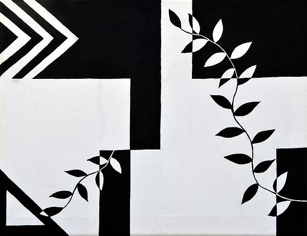 Silhouette Painting - Black Vs White Again by Farah Faizal