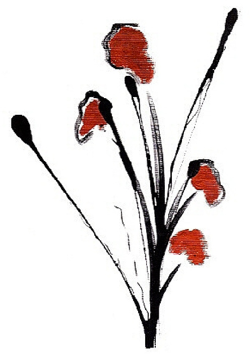 Floral Painting - black with a touch of red  A by Mimo Krouzian