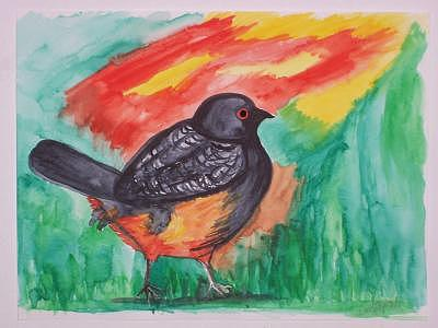 Blackbird Painting by Caroline Lifshey