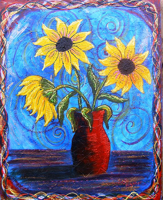 Blazing Sunflowers Four Painting by Tami Booher