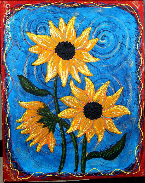 Blazing Sunflowers Two Painting by Tami Booher