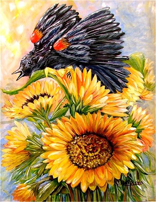 Redwing Painting - Blending In by Carol Allen Anfinsen
