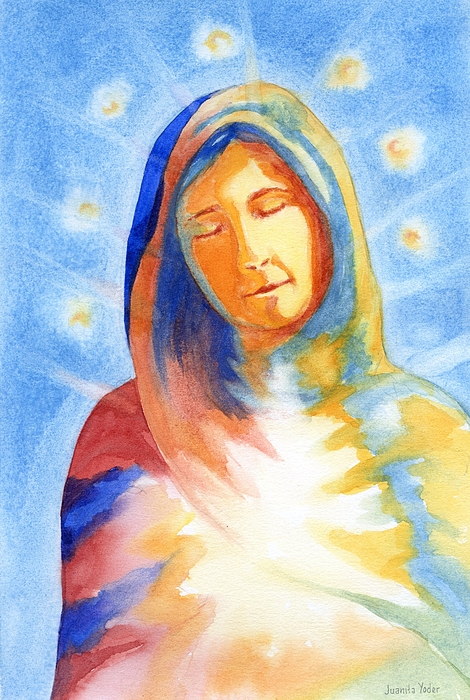 Divine Mixed Media - Blessed Mother by Juanita Yoder