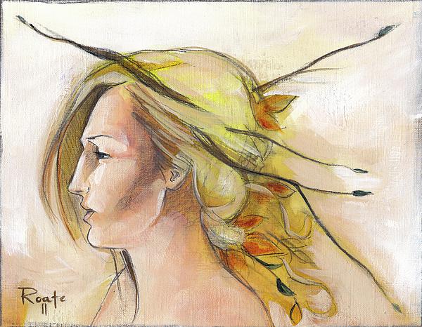 Autumn Leaves Painting - Blonde Autumn Left by Jacque Hudson